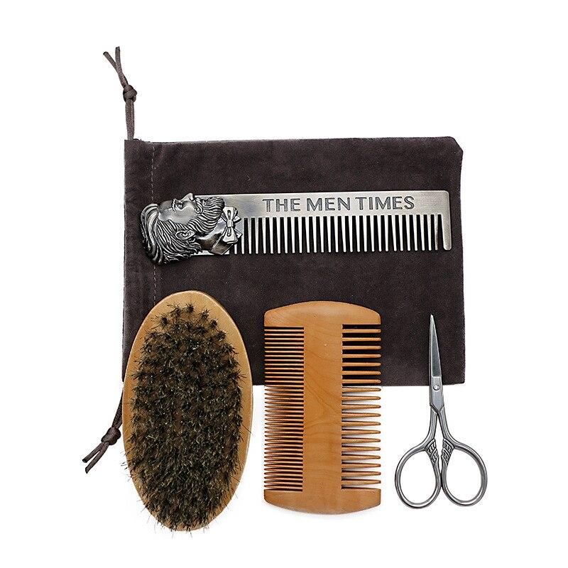 Купить с кэшбэком 5pcs Men Beard Oil Kit Stainless Steel Beard Brush Comb Shaving Set Grooming &amp Trimming Kit Male Beard Care Set with Cloth Ba