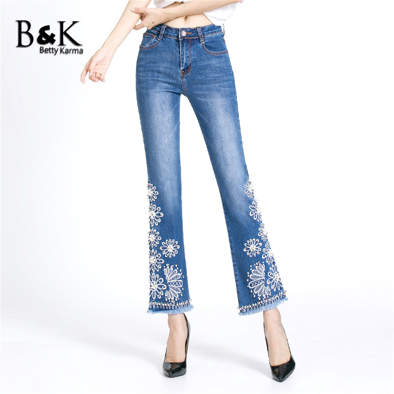 Flare Pants Embroidered Jeans Women High Quality Stretch Denim Jeans Female Slim Pantalon Push Up Skinny Plus Size Jeans Femme 2011 2017 summer overalls women jeans fashion elastic skinny jeans women harajuku pantalon femme push up denim jeans womens