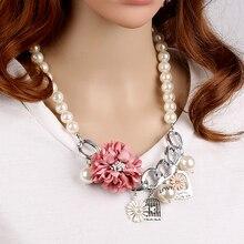 Красивое Ожерелье Заявление 2016 CNANIYA Ювелирный Бренд цветок Имитация Pearl Choker Ожерелье Подвески Женщины Бижутерии Femme Воротник
