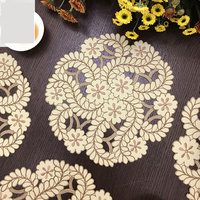 3PCS/set pastoral embroidered circle cabinet floral Table Hollow Decoration Accessories Placemat Coffee table mat Pads M566