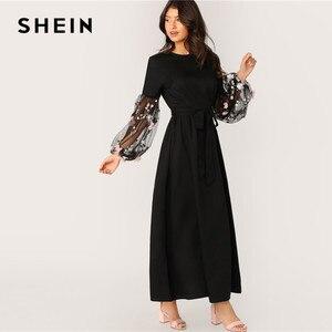 Image 3 - SHEIN Flower Applique Mesh Lantern Sleeve Belted Women Dress Round Neck Long Sleeve Maxi Dress High Waist Elegant Dress