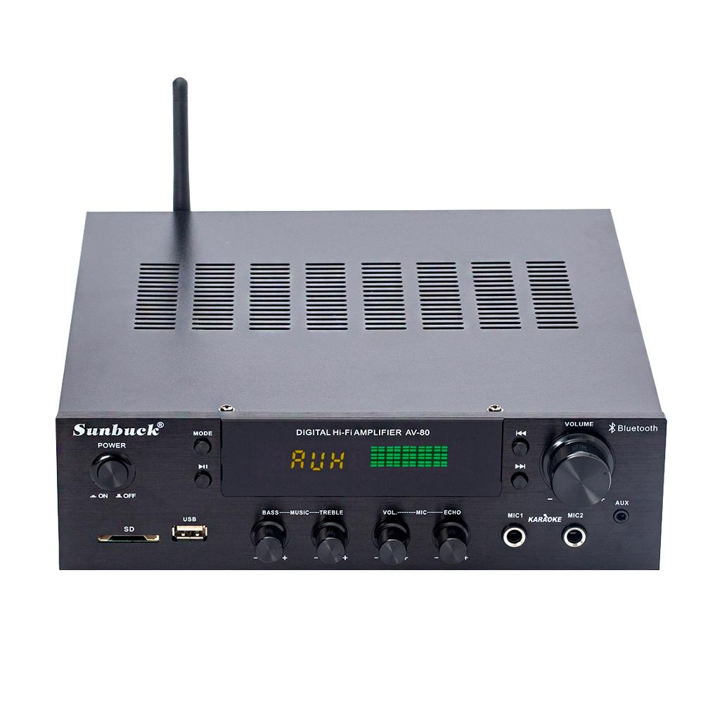 <font><b>2.1</b></font> channel 300W high power remote control <font><b>Bluetooth</b></font> USB SD FM radio home theater reverberation karaoke HIFI amplifier image