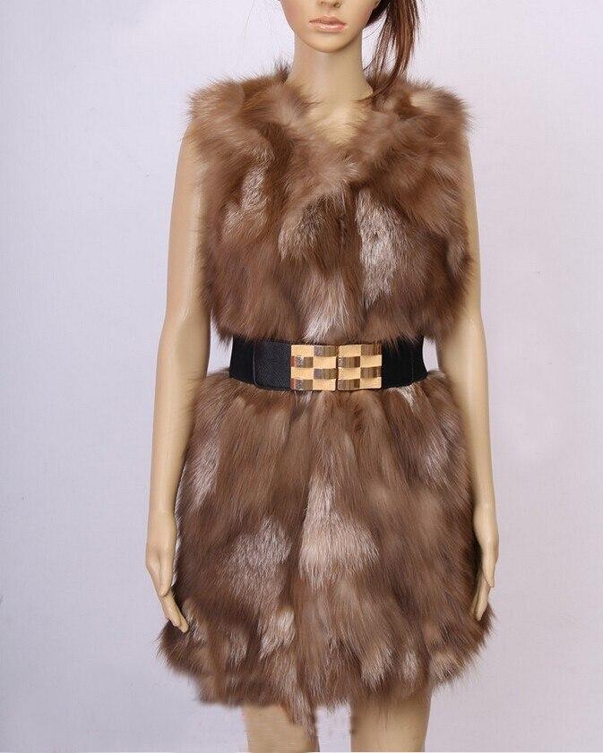 Новое поступление натуральный Лисий мех жилет натуральный Лисий женский зимний жилет модный бренд TonFur KFP577