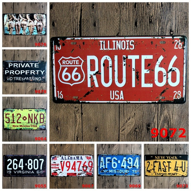 Vintage Home Decor Metal License Plate Vintage Shabby Chic Route 66  Decorative Plates For Bar Car