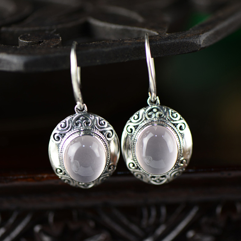 925 Sterling Silver Earrings Natural Stone Rose Quartz Retro Drop Earrings For Women Fashion Trendy Jewelry
