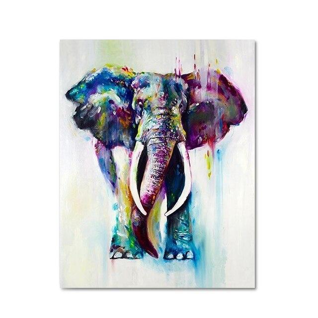 raybre art 50 x 60cm canvas print box cartoon animals elephant abstract modern colors oil painting - Cadre Elephant