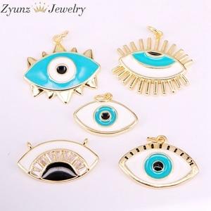 Image 4 - 30 pièces de pendentifs en émail, mélange aléatoire, perles oculaires en émail, rondes, étoiles, lèvres, mains, yeux, pour collier, découvertes pour bijoux