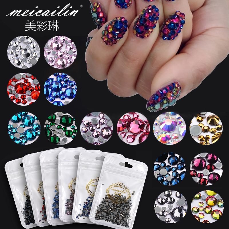 Meicailin 5g / bag Nail Art AB Түсі HotFix Rhinsestone for Nails AB Түсі DIY Жалпақ Nail Rhinestones безендіру Crystal Stones