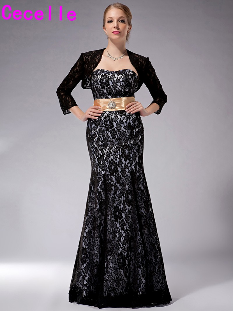 ff53420d583 Black Lace Long Mermaid Floor Length Mother Of The Bride Dresses With Jackets  Plus Size Mother Bride Dresses For Wedding Vintage-in Mother of the Bride  ...