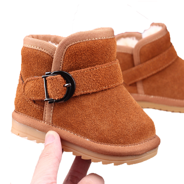 Genuine Leather Winter Newborn Baby Boys Shoes Warm First Walker Infants Antislip Snowboots Moccasins With Fur Children Shoes