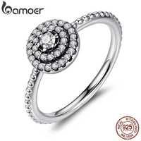 BAMOER 925 Sterling Silver okrągły kształt Radiant Elegance, kwiat z czystą cyrkonią palec pierścionki dla kobiet rocznica sprzedaż 2019 PA7178