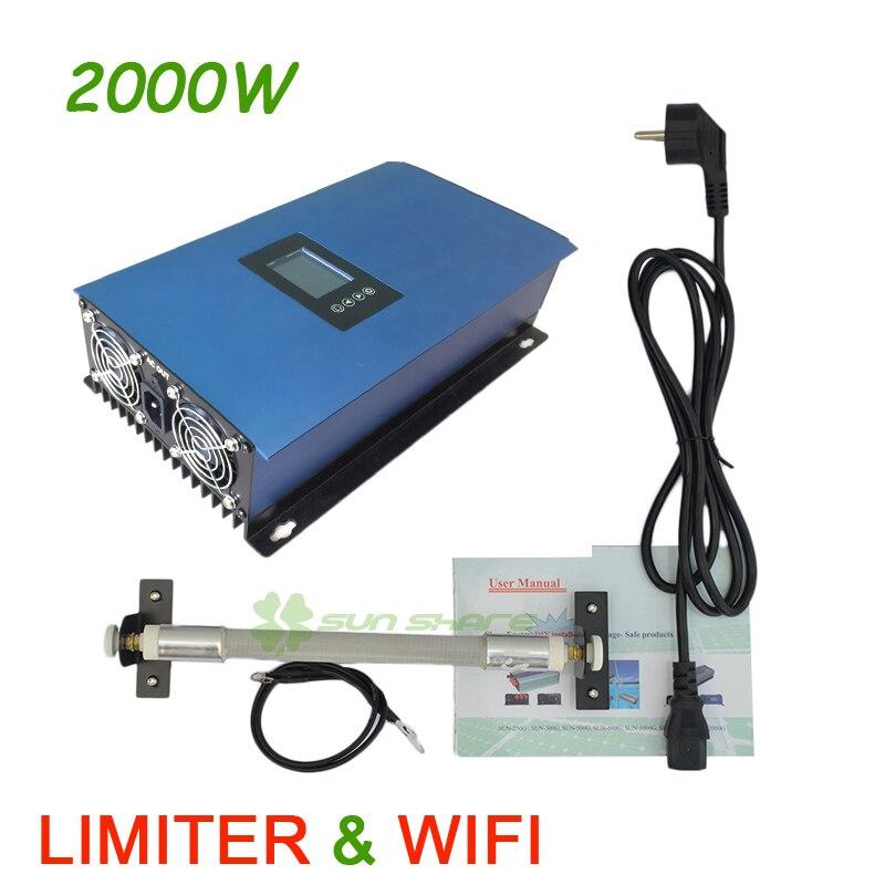 Funzione di WIFI 2000 W Invertitore del Legame di Griglia MPPT Vento Limitatore incorporato + resistenza di carico del deposito, per 3 Fasi 48 v vento generatore di turbina