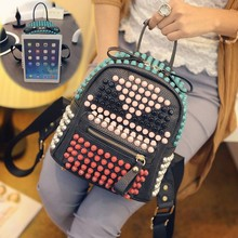 Nail color diamond skull shoulders back a little monster five colored backpack bag ladies fashion trend campus wind