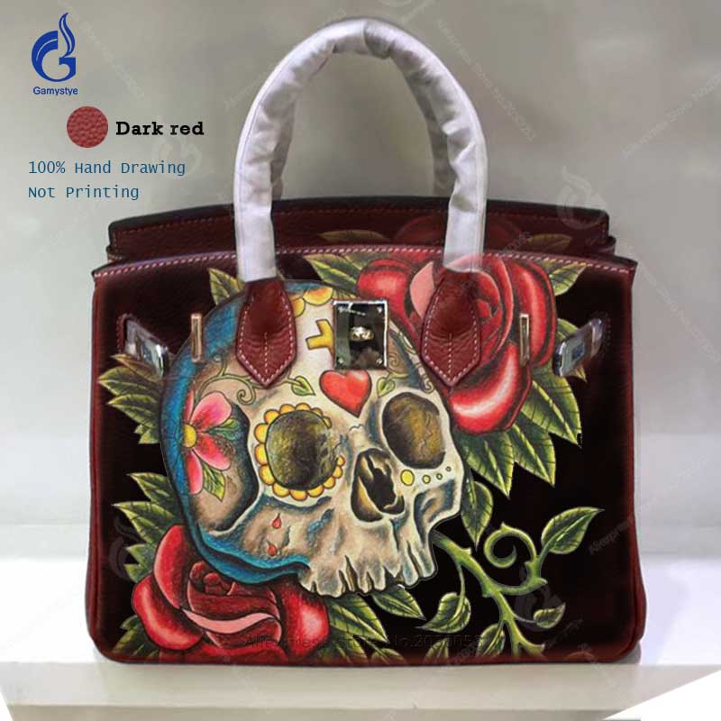 Luxury Handbags Women Bags Designer 2018 Fashion Genuine Leather Casual  Totes Hand Painted Art Skull Rose Crossbody Shoulder Bag bolsos mujer de  marca ... 26b88e09a02e2