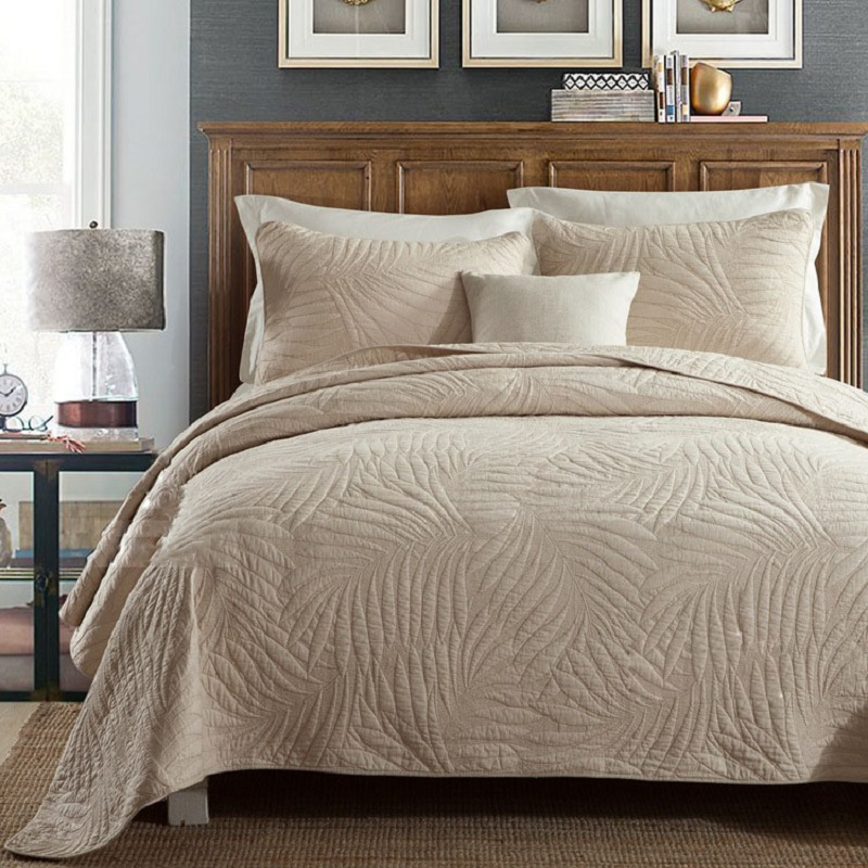 CHAUSUB Large QUILT Set 3PCS Plain Cotton Quilts Embroidered Quilted Bedspread Pillowcase White Beige KING <font><b>Size</b></font> <font><b>Bed</b></font> Coverlet