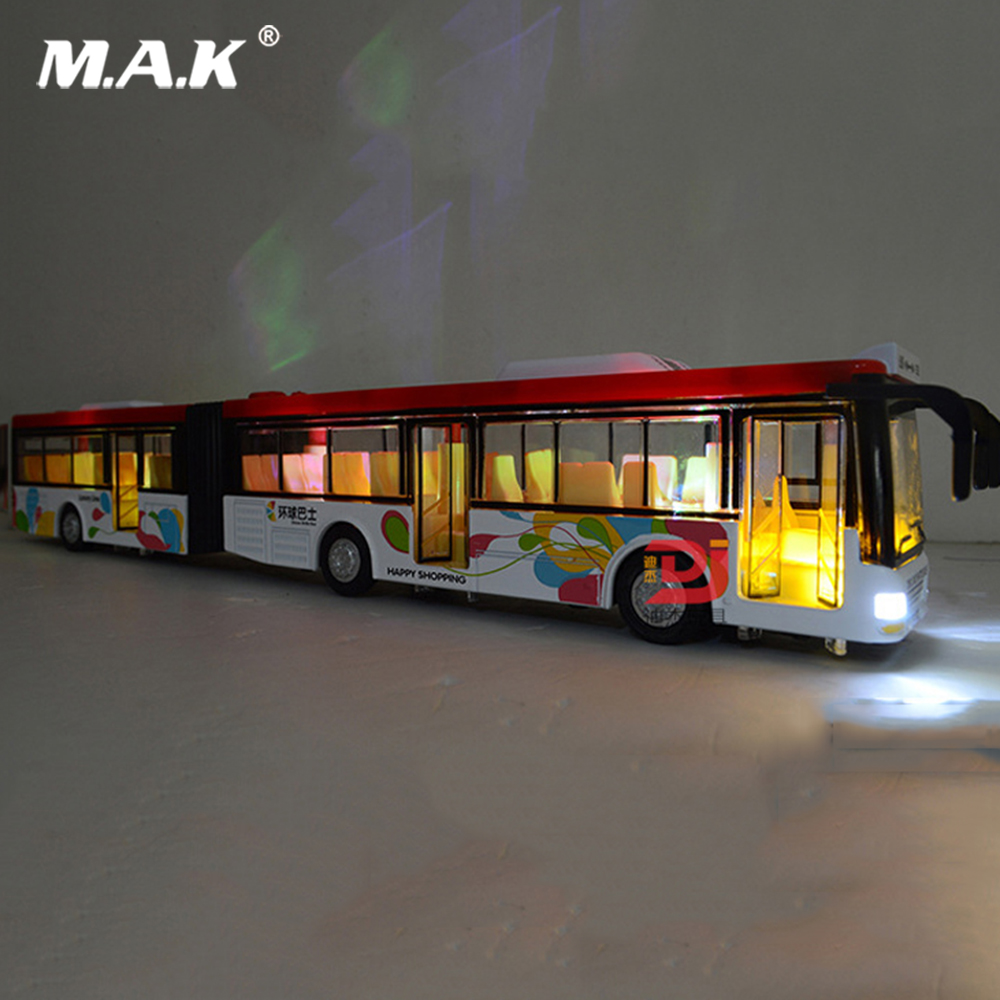 36cm Diecast Bus Model 1:50 Scale Baby Bus Toy For Kids Toy Vehicle Model Double Sections Pull Back Sound And Light Gift