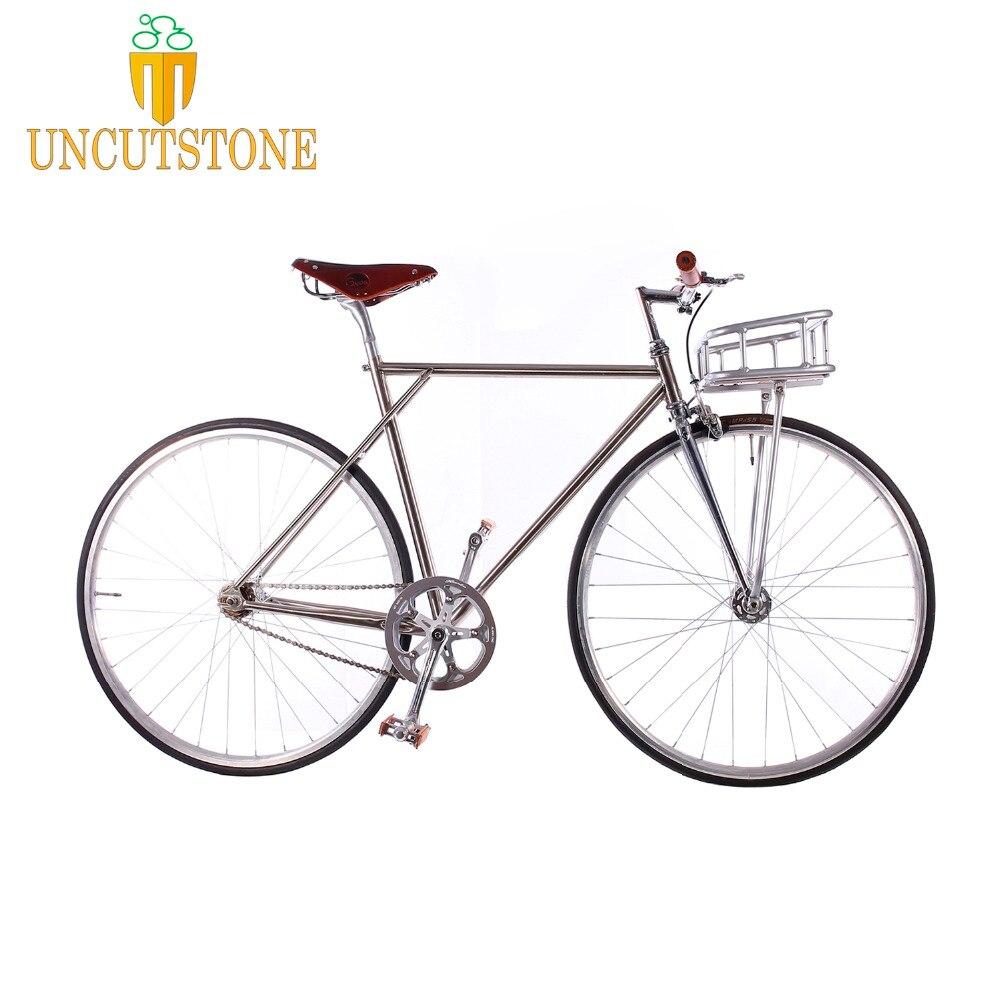 Retro Bike 53cm 55cm 58cm  Brasket Track Single Speed Bike Fixie Bike 700C Vintage Road Bicycle Chrome Molybdenum Steel Frame