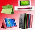 Кожаный флип-чехол, стилус и пленка  для Samsung Galaxy Tab 4 7.0 T230 T231 T235
