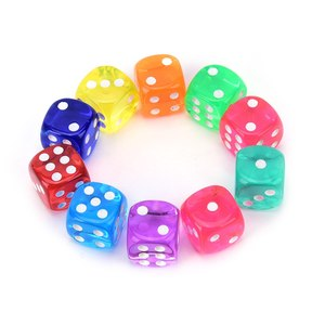 10 Pcs Dice Transparent Solid Glitter effect in 12mm square corners Plastic cube d6 Gambling Dice 14mm Hot Sale