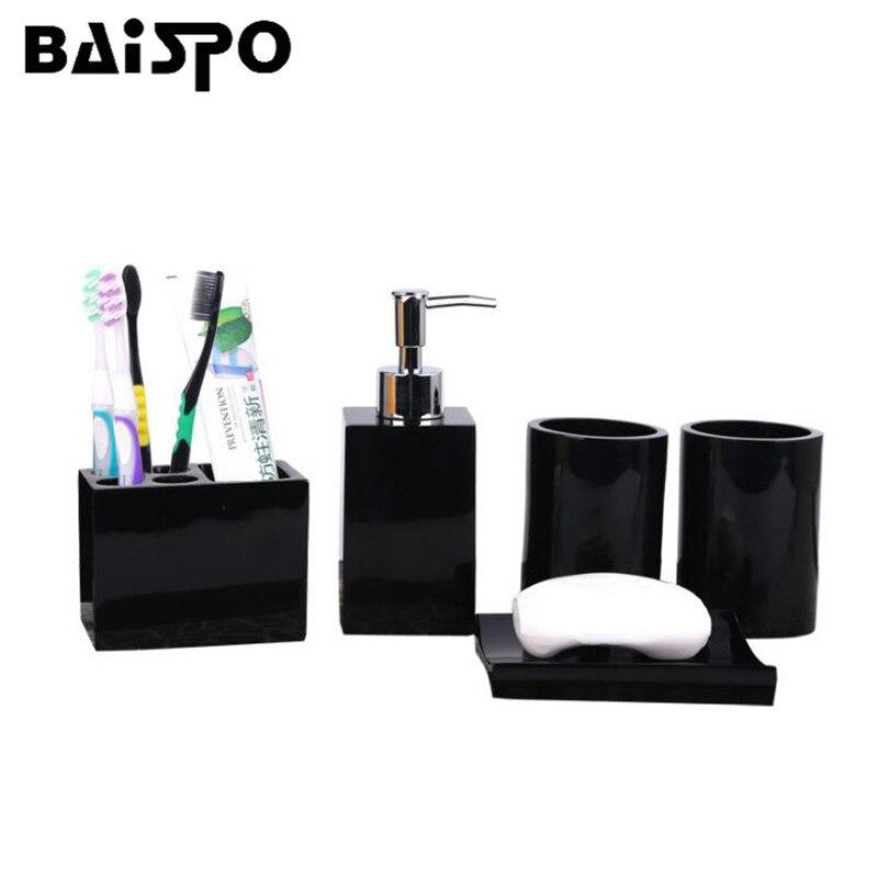 BAISPO exquis 5 pièces résine salle de bain ensemble salle de bain européenne distributeur de savon liquide boîte à savon porte-brosse à dents décoration de la maison