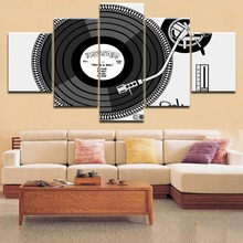 HD Top-Rated Printing 5 Pieces Painting Musical Instruments Modern Music DJ Type Poster Home Decoative Living Room Framework