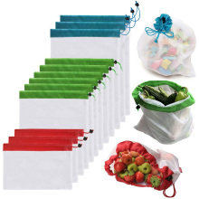 12 Pcs Reusable Mesh Drawstring Grocery Shopping Bag Adjustable Polyester String Fruit Vegetable Storage Bags