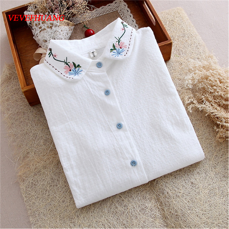 2018 New Korean Fashion Spring and Summer Blouses Women Lapel Collar Flower Embroidery Blouse Female Long Sleeve Cotton