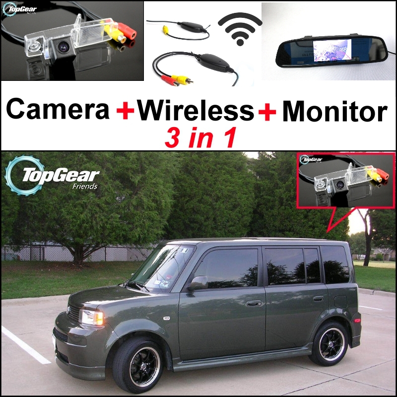 Special Rear View Camera + Wireless Receiver + Mirror Monitor 3 in1 Easy DIY Backup Parking System For Scion XB MK1 2003~2007 wireless pager system 433 92mhz wireless restaurant table buzzer with monitor and watch receiver 3 display 42 call button