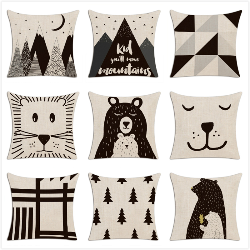 Children Simple Cushion Cover Hand Painted Cartoon Animals Pillow Case Nordic Style Forest Bear Bookcase Mountain Pillow Cover