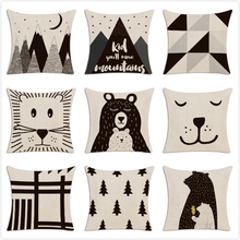 Children Simple Cushion Cover Hand Painted Cartoon Animals Pillow Case Nordic Style Forest Bear Bookcase Mountain