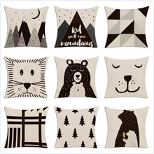 Children Simple Cushion Cover Hand Painted Cartoon Animals Pillow Case Nordic Style Forest Bear Bookcase Mountain Pillow Cover(China)
