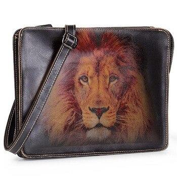 Quality Leather Vintage Embossed Male Design Chain Zipper Pocket Organizer Wallet Clutch bag Tablet Cross body Shoulder Bag