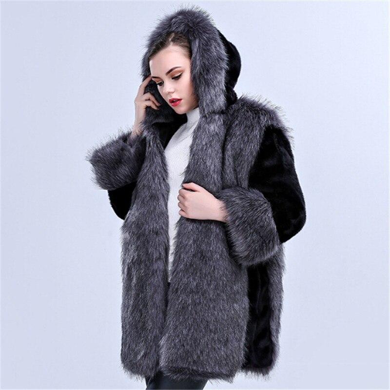 Robe Mode 2017 Vison En Femmes Manteau Vêtements Grey Élégant Imitant Luxe Pardessus Black Marque Cuir Et Hiver 18 De aqrw7naHx