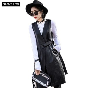 Image 1 - נשים שחור אמיתי עור אפוד מעילי 2019 קיץ אופנה חגורת Slim נדל מעוור טלה עור ארוך תעלת מעיל Streetwear גבירותיי