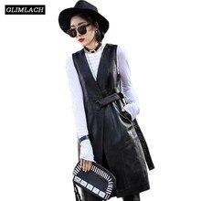 Femmes noir en cuir véritable gilet vestes 2019 été mode ceinture mince en cuir dagneau véritable longue Trench manteau Streetwear dames