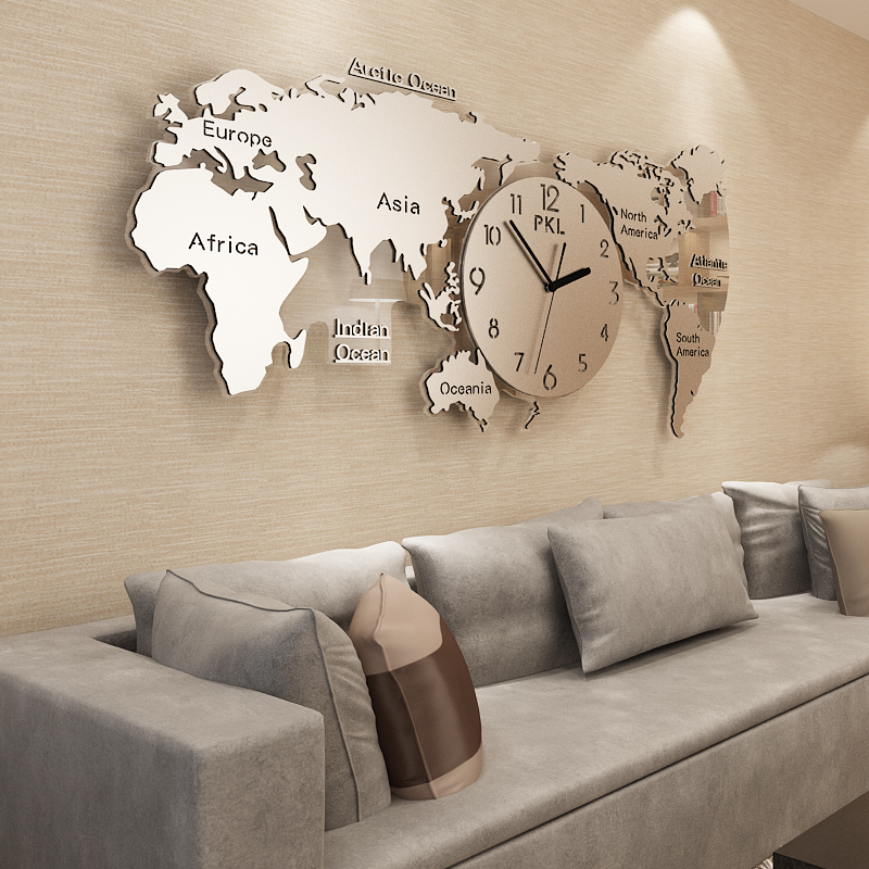 Nordic Decorative World Map Clocks And Watches Modern Simple Atmospheric Personality Creative Fashion Clocks And Watches