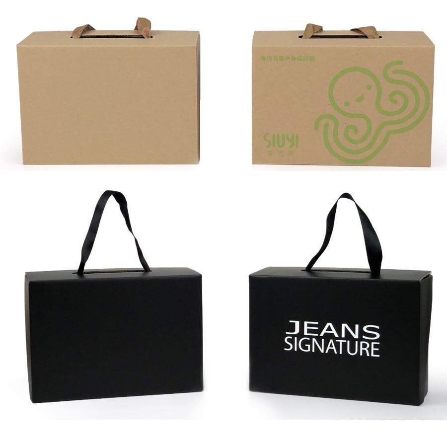 50pcs/lot White/Black Kraft Paper Gift Box Children's shoe box Portable Case Women men shoe box 4 Size Custom logo-in Gift Bags & Wrapping Supplies from Home & Garden    3