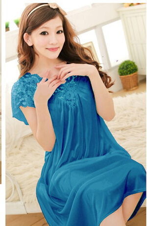 Free shipping women lace sexy nightdress girls plus size bathrobe Large size Sleepwear nightgown Y02-3 5
