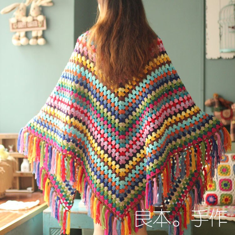 Crochet cappa scarf cloak neckerchief blanket Hand hooked fashion square crochet blanket cushion felt scarf table flat