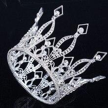 9,5*11 cm barroco Vintage completo redondo hombres corona accesorios para el cabello de boda rey corona novio Prom Tiaras y coronas Hairwear hombre regalo
