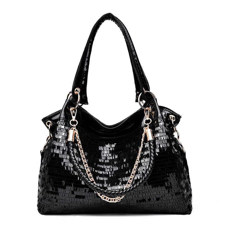 1f5cfc1206 Black Patent Leather Bag Women 2018 New Bright Sequin Large Capacity Handbag  Lady Casual Hobo Crossbody