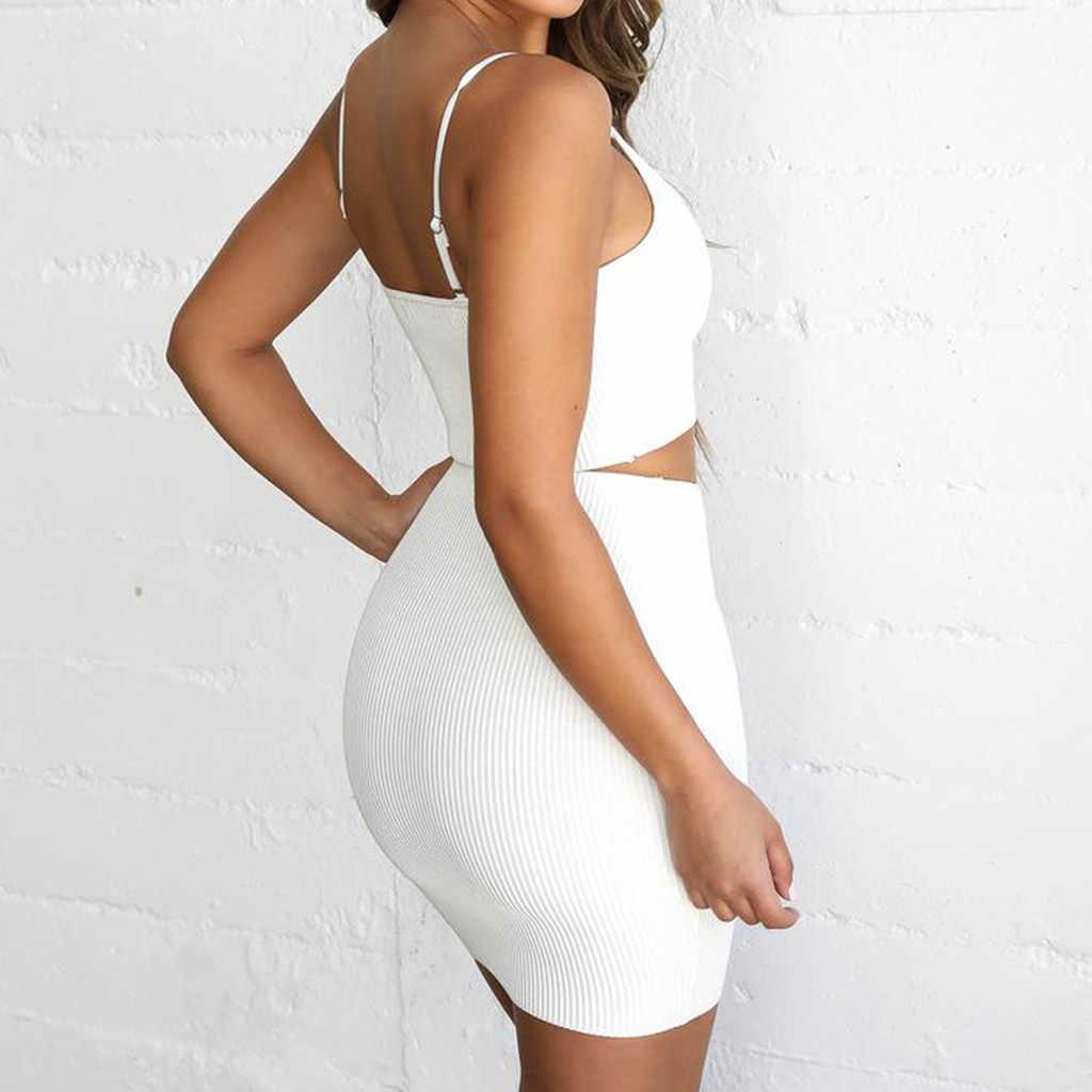 JAYCOSIN 2019 חדש קיץ נשים חליפת סקסי ווג לבן מוצק קלע ללא משענת כבויה כתף יבול למעלה מיני חצאית חוף סטים 9042410