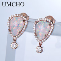 UMCHO Water Drop Opal Silver Stud Earrings 925 Sterling Silver Jewelry Sweet Style For Lover Anniversary Gifts Fine Jewelry