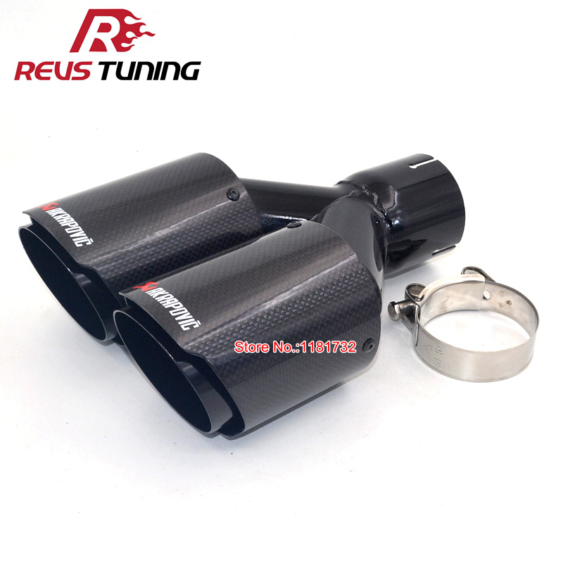 "1PCS ID:2.5/""63mm OD:3.5/""89mm Akrapovic Carbon Fiber Black Exhaust Tip Dual Pipe"