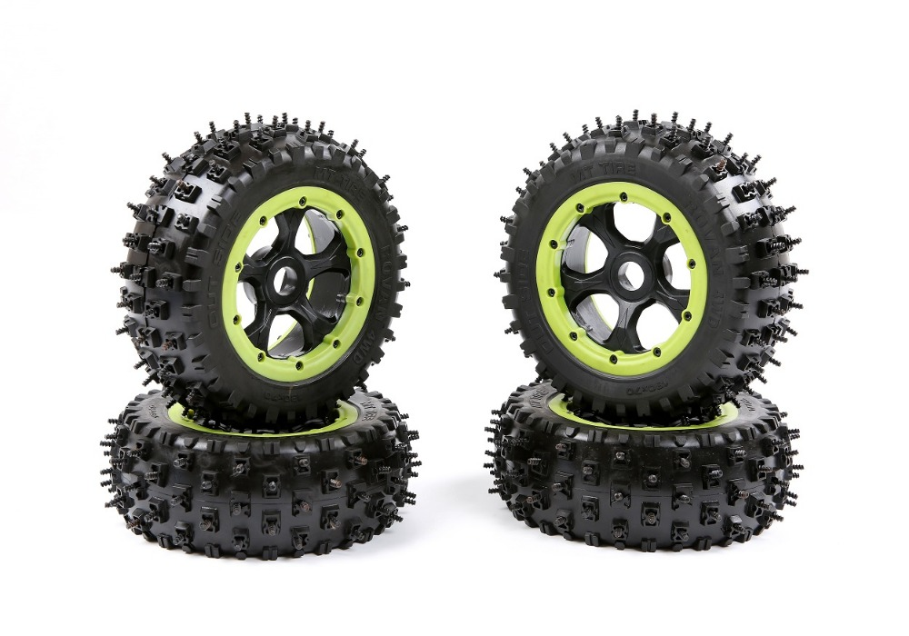 Big Nail Tyres and Wheels Big nail wheels and tires for 1/5 LOSI 5ive-T AND ROVAN LT RC TRUCK gold color edition version of the hub assembly and fiber outer pressure ring for losi 5ive t