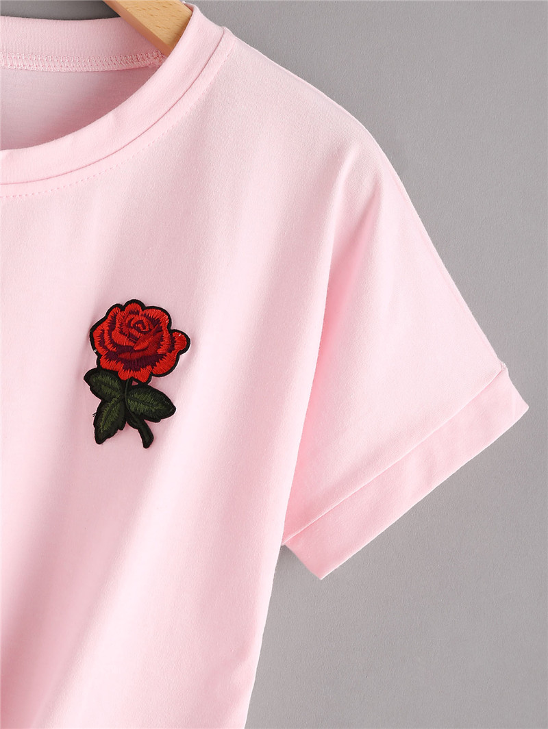 HTB1nrUxRXXXXXbhXVXXq6xXFXXXO - 2017 Fashion Summer Kawaii Embroidery T Shirts Women Short Sleeve Tops Tees Casual Female Pink T-shirt