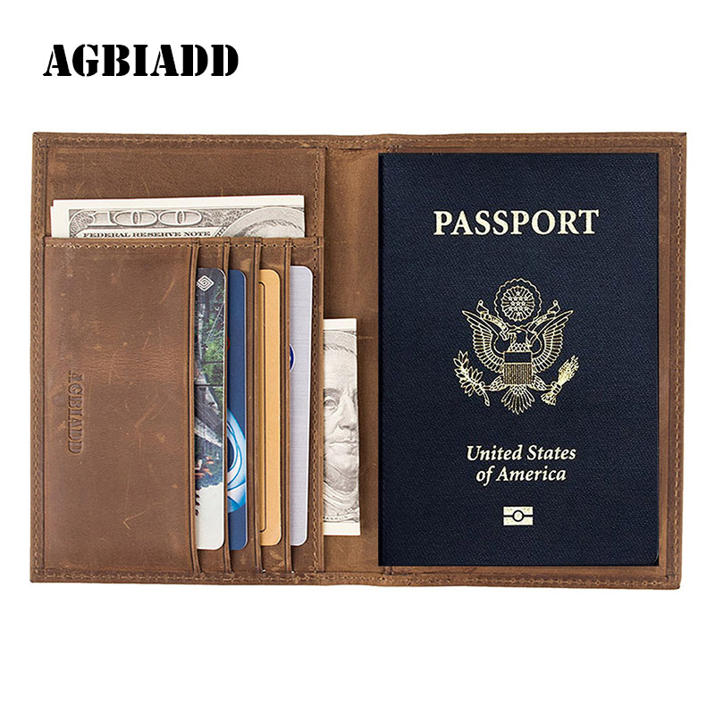 Vintage Crazy Horse Leder Passinhaber Echtem Leder Passport Covers RFID Reisedokument Kreditkarteninhaber 589