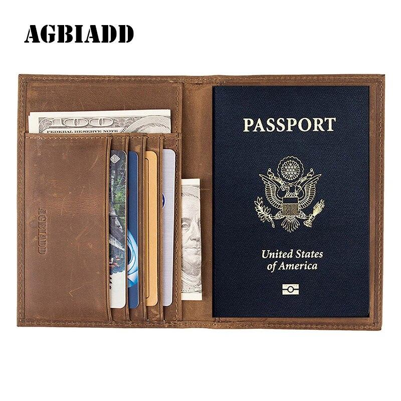 Vintage In Pelle di Cavallo Pazzo Copertura Titolari di Passaporto Documento di Viaggio Genuino Passaporto In Pelle Copre RFID Porta Carte di Credito 589
