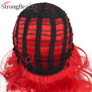 Image 5 - StrongBeauty Short Red Wigs Body Wave Synthetic Wig Women Lady Heat Resistant Hair