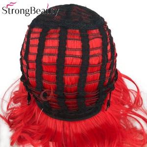 Image 5 - StrongBeauty قصيرة الأحمر الباروكات الجسم موجة شعر مستعار اصطناعي المرأة سيدة الحرارة مقاومة الشعر